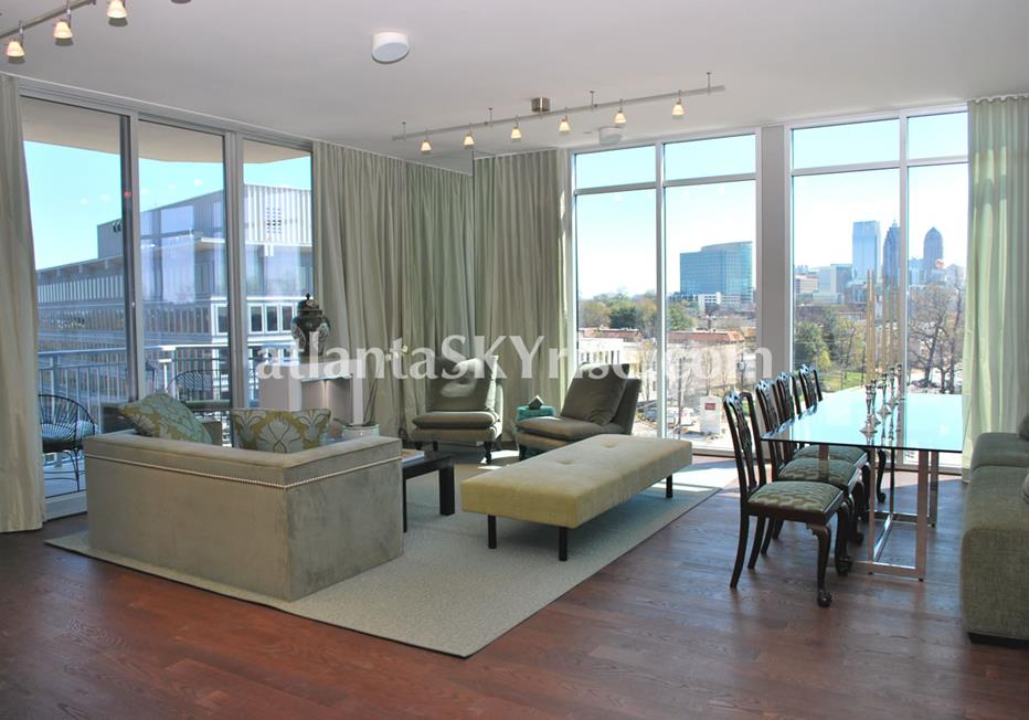 The Brookwood Midtown Atlanta Condo Living Room With City Views